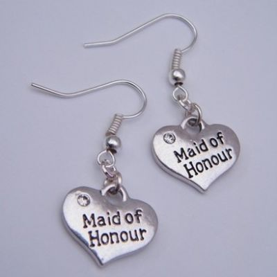 Maid Of Honour Earrings - Drop Charm Style